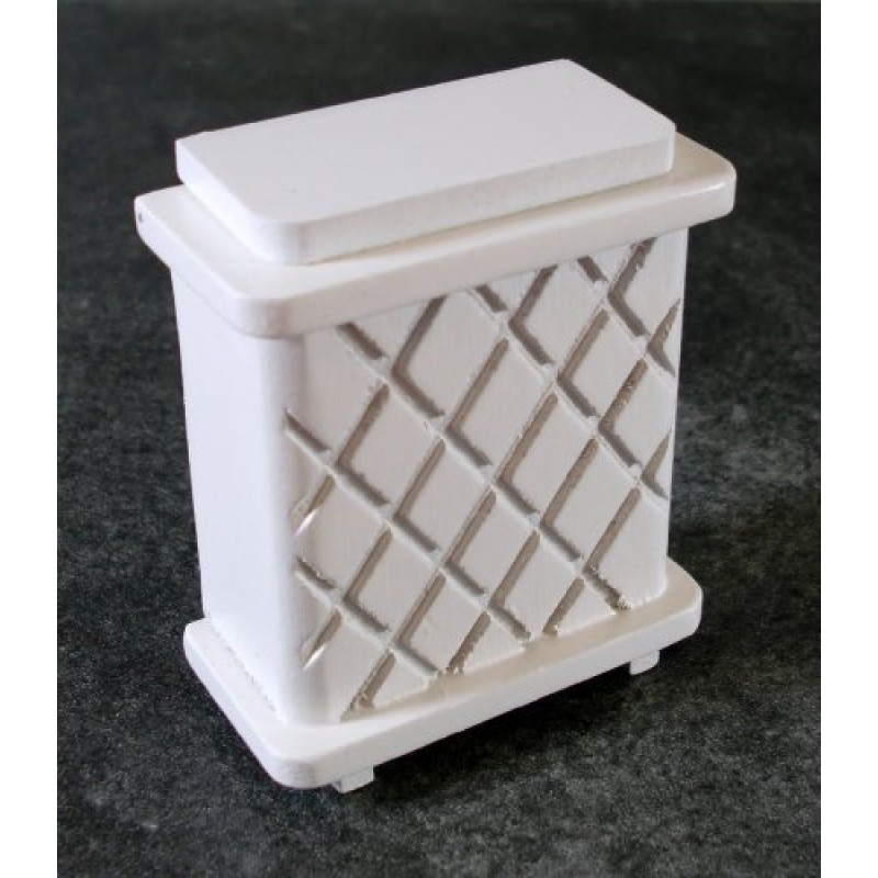 Dolls House Miniature Accessory White Wood Laundry Basket Clothes Hamper 6872
