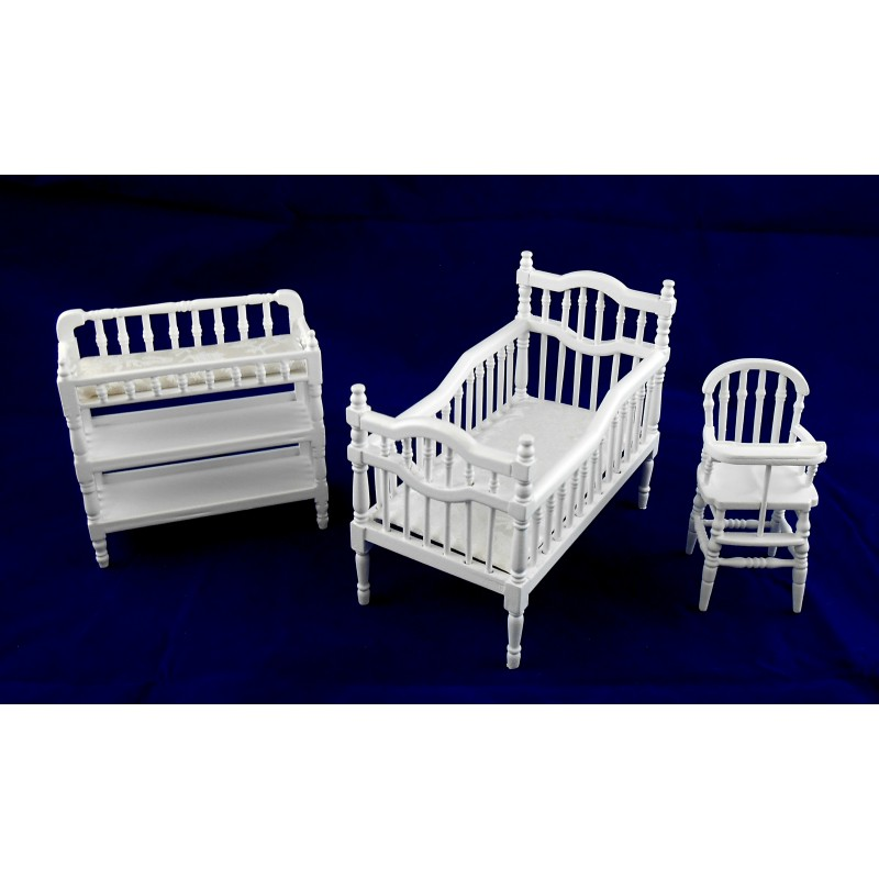 Dolls House Miniature White Victorian Nursery Furniture Set Baby Cot Chair Table