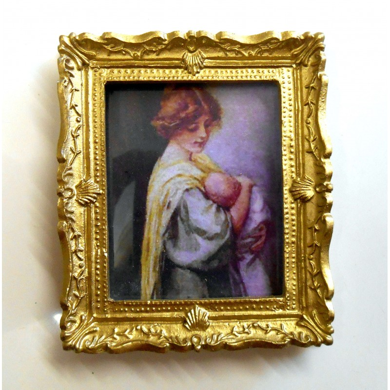 Dolls House Miniature 1:12 Accessory Victorian Mother and Baby Picture Painting