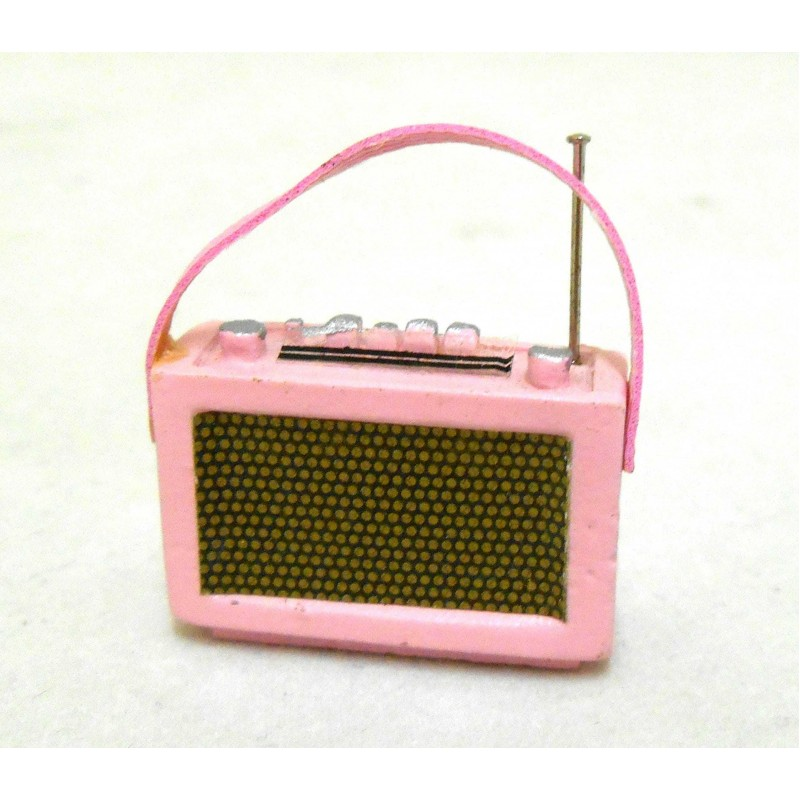 Dolls House Miniature 1:12 Scale Accessory 1960`s Pink Transistor Radio