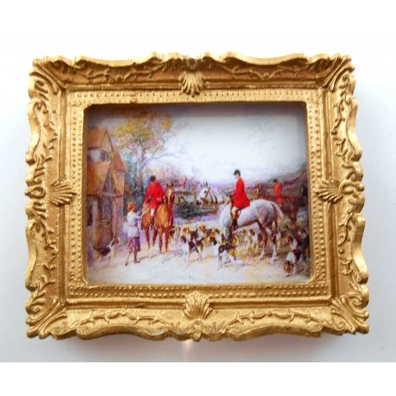 Dolls House Miniature Accessory 1:12 Gold Framed Hunting Scene Picture Painting