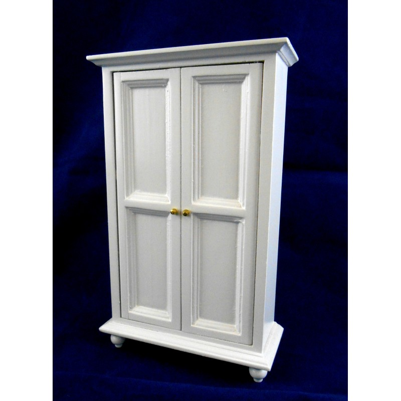 Dolls House Miniature 1:12 Scale Bedroom Furniture White Wooden Wardrobe