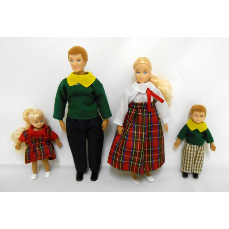 Dolls House Miniature 1:12 Modern Family of 4 People Mum Dad Little Girl nd Boy