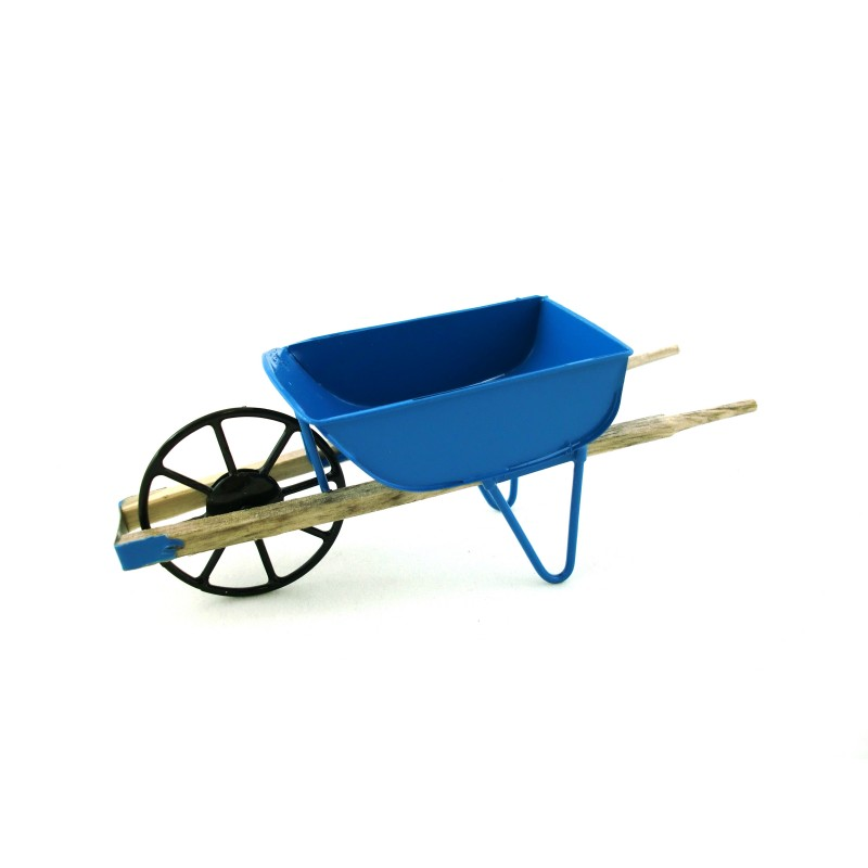 Dolls House Miniature 1:12 Scale Garden Accessory Blue Wheelbarrow