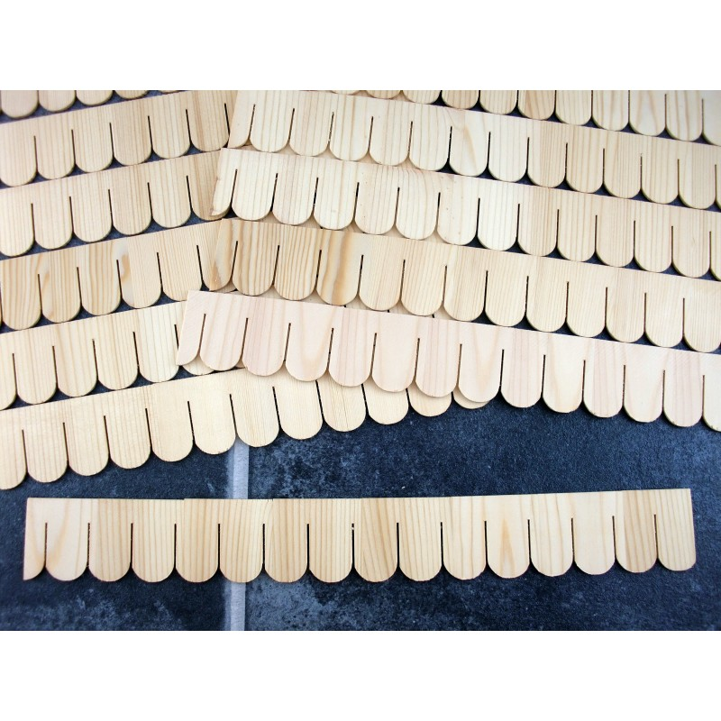 Dolls House Pack of 12 Miniature Fish Scale Shingle Strips Roofing