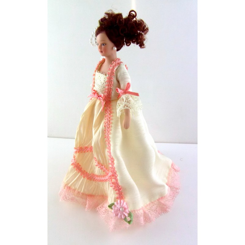 Dolls House Miniature 1:12 People Porcelain Victorian Lady in Cream Pink Gown