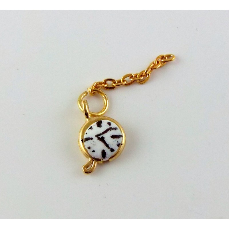Dolls House Miniature Hand Made Victorian Gentlemens Accessory Pocket Fob Watch Gold