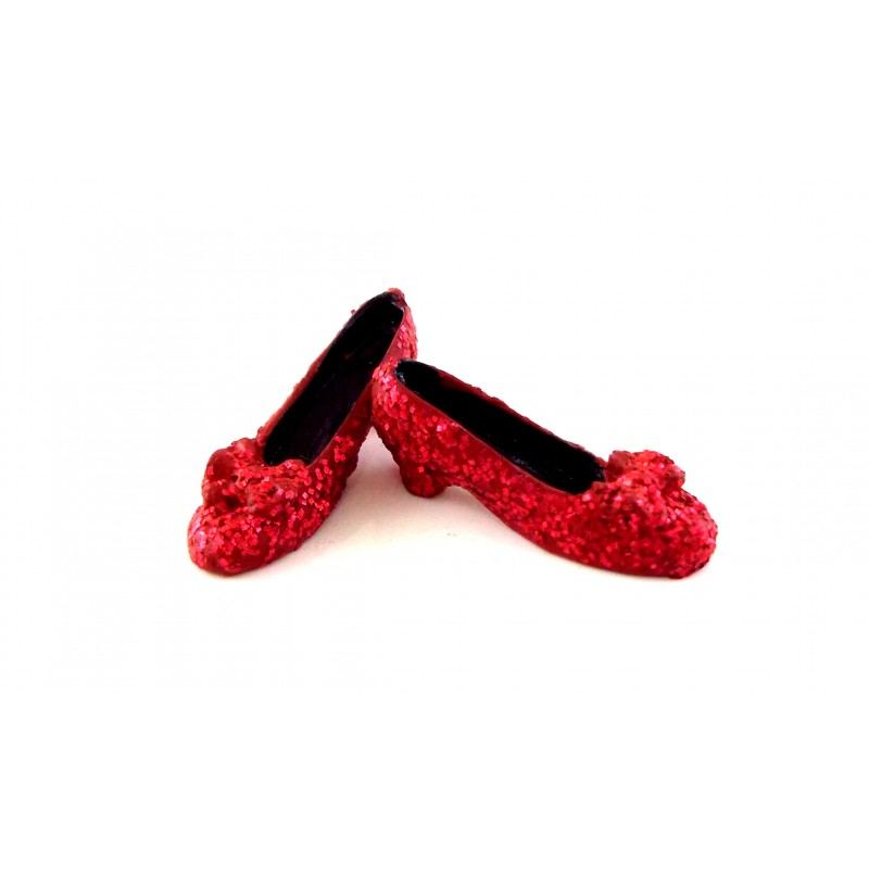 Dolls House Miniature Bedroom Clothing Accessory Ruby Slippers Red Glitter Shoes