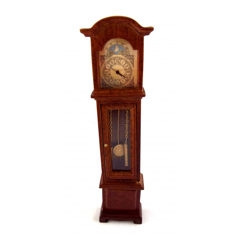 Dolls House Miniature 1:12 Walnut Working Quartz Victorian Grandfather Clock