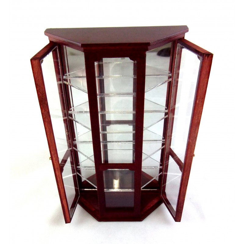 Dolls House Miniature Wooden Furniture Mirrored China Curio Shop Display Cabinet Mahogany