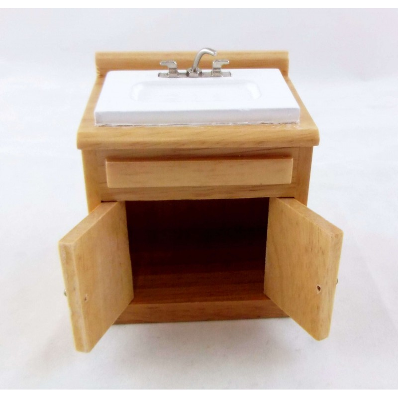 Dolls House Light Oak Sink Unit with Mixer Tap Miniature 1:12 Kitchen Furniture