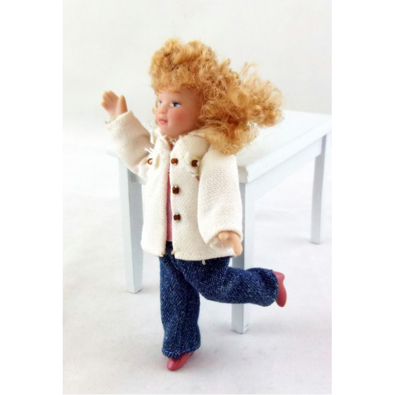 Dolls House Miniature People 1:12 Scale Porcelain Figure Modern Little Girl