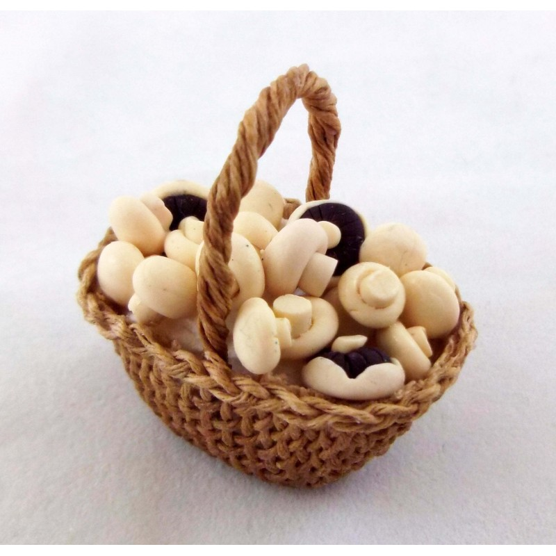 Dolls House Miniature Country Kitchen Accessory Hand Made Basket of Mushrooms