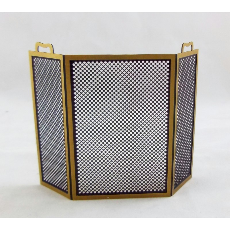 Dolls House Miniature Fireplace Accessory Brass Black Fire Screen Guard