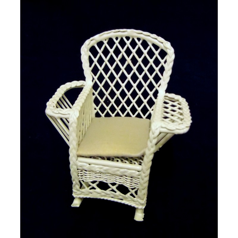 Dolls House Miniature Furniture White Wire Wrought Iron Rocking Chair Rocker