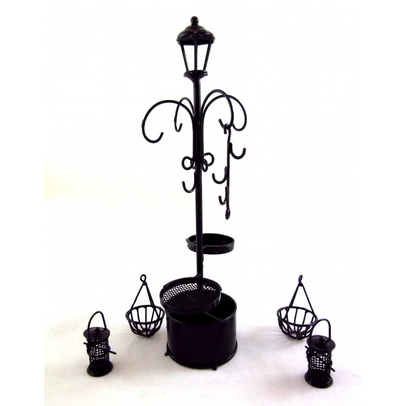 Dolls House Miniature Black Wire Bird Bath Feeder Hanging Basket Plant Stand