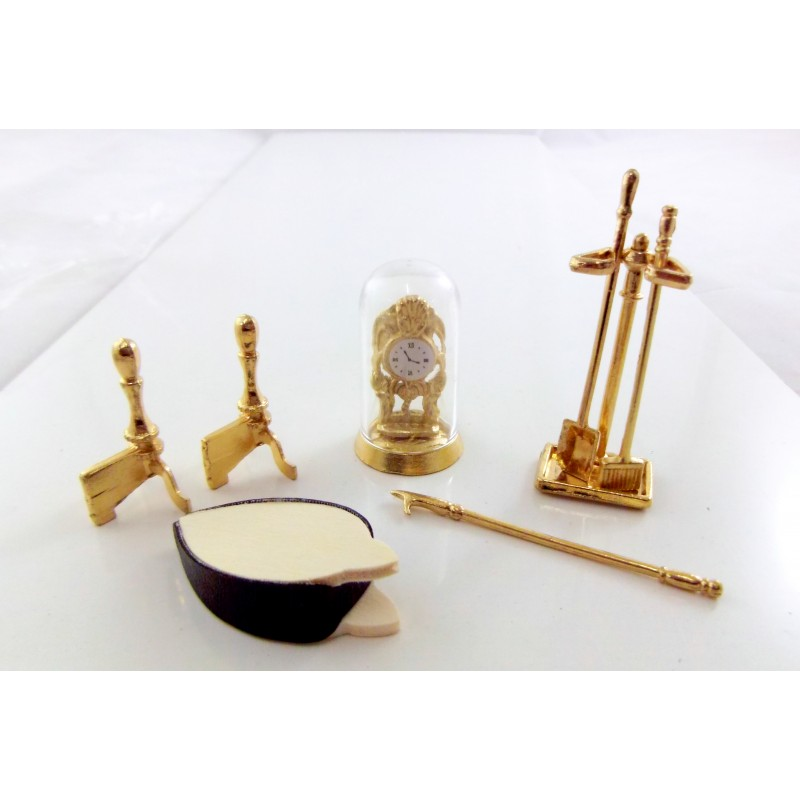 Dolls House Miniature Fireside Ornament Victorian Fireplace Accessory Set