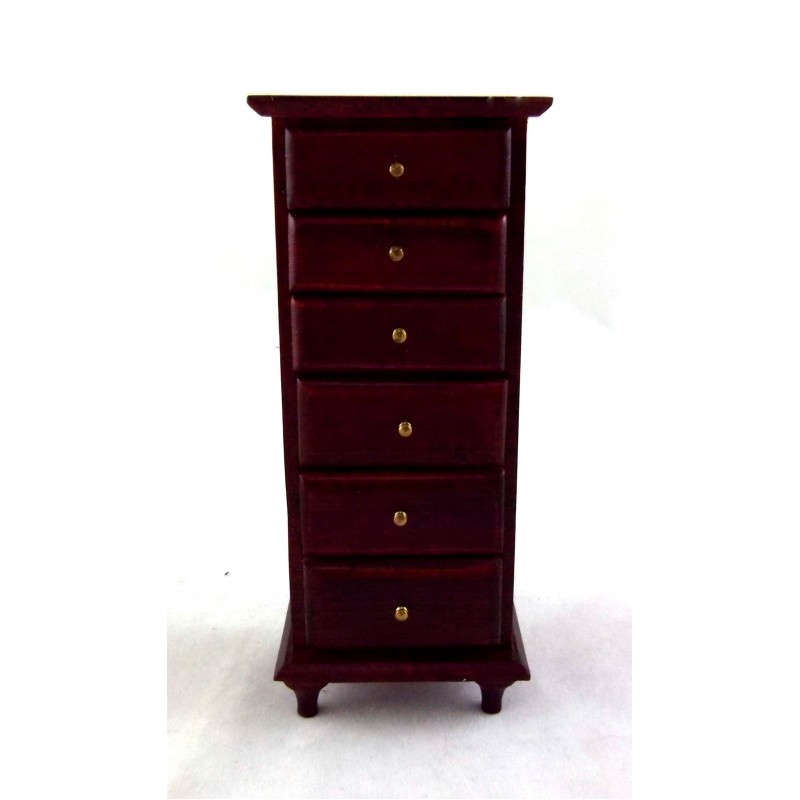 Dolls House Miniature Bedroom Furniture Mahogany Lingerie Chest of Drawers