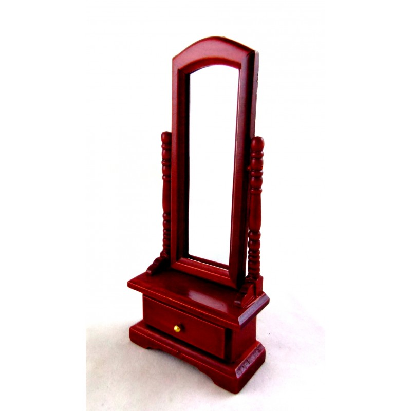 Dolls House Miniature Bedroom Furniture Mahogany Standing Cheval Dressing Mirror