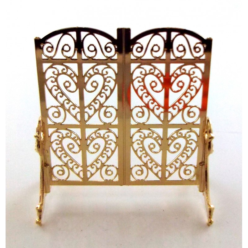 Dolls House Miniature Fireplace Accessory Ornate Victorian Fire Screen Guard