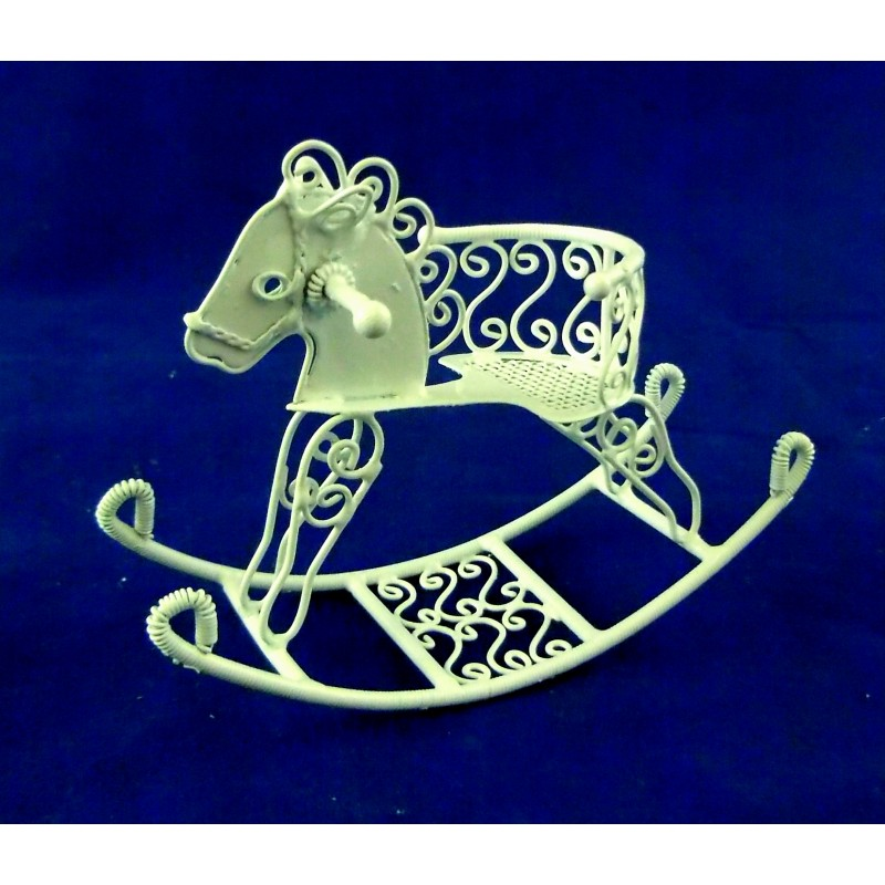 Dolls House Miniature Nursery Toy White Wire Wrought Iron Sit on Rocking Horse