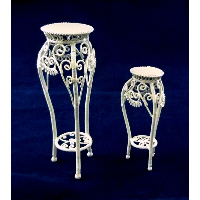 Dolls House Miniature Furniture White Wire Wrought Iron Pedestal Plant Stands