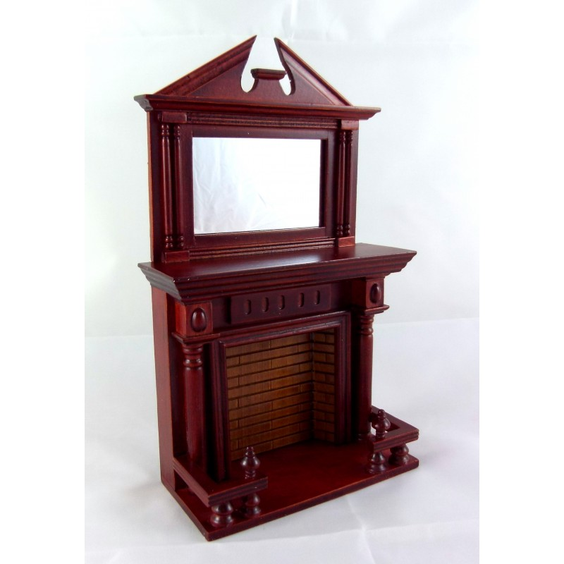 Dolls House Miniature Wooden Furniture Mahogany Fireplace with Mantle Mirrror