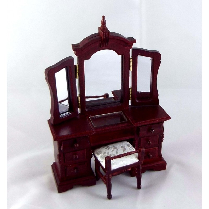 Dolls House Venetian Vanity Dressing Table & Stool Miniature Bedroom Furniture