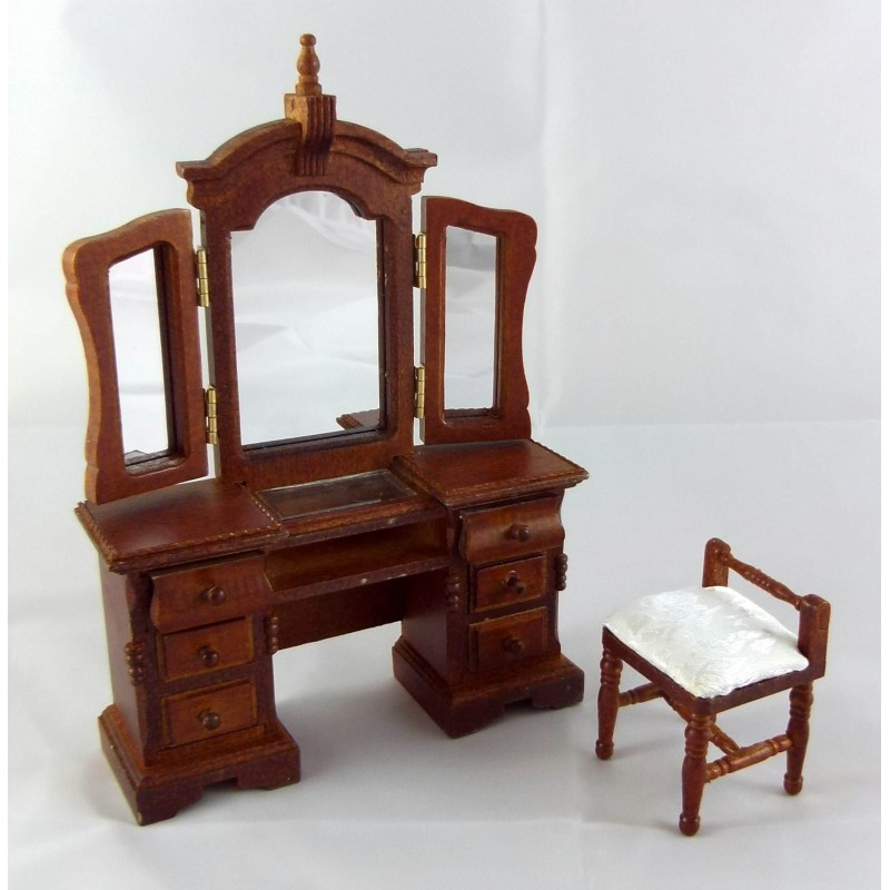 Dolls House Venetian Dressing Table & Stool Miniature Walnut Bedroom Furniture