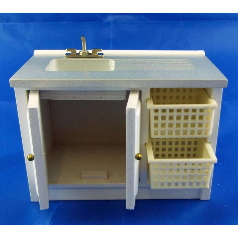 Dolls House Miniature Kitchen Utility Room Furniture Laundry Sink Unit & Baskets