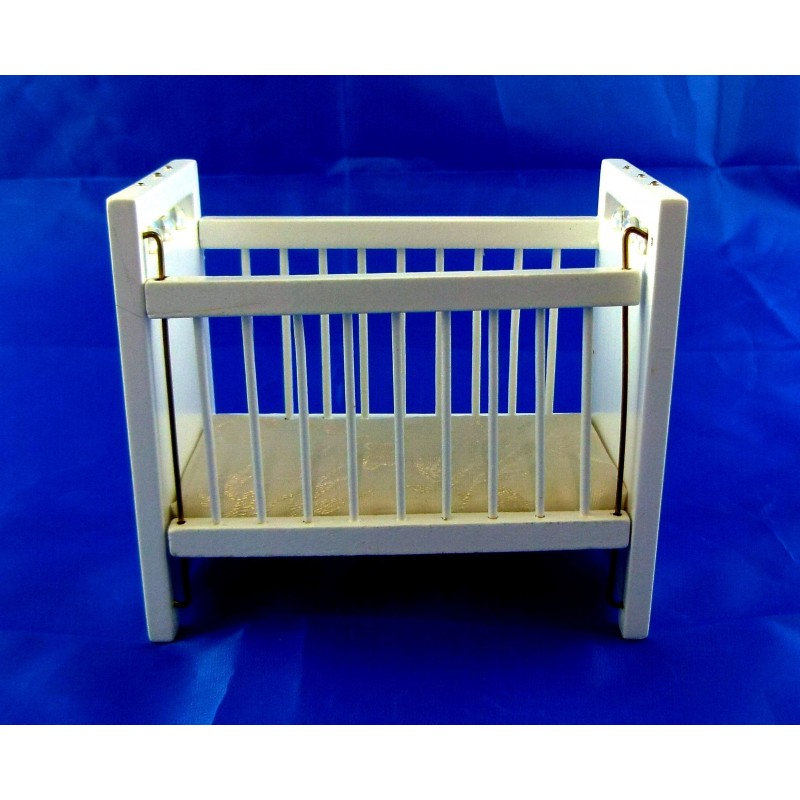 Dolls House Miniature Nursery Baby Furniture White Wooden Drop Side Cot Crib