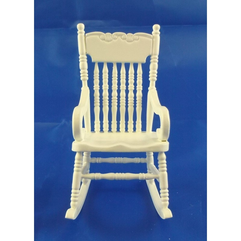 Dolls House Miniature 1:12 Scale Furniture White Wooden Rocking Chair