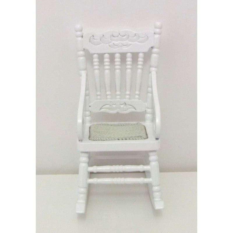 Dolls House Miniature Furniture White Wooden Rocking Chair with Woven Seat