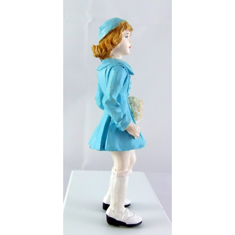 Dolls House Miniature 1:12 Scale Resin People 1950`s Girl in Hat Coat & Muff