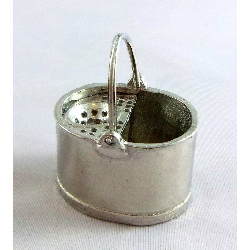 Dolls House Warwick Miniature Accessory Old Fashioned Metal Pewter Mop Bucket