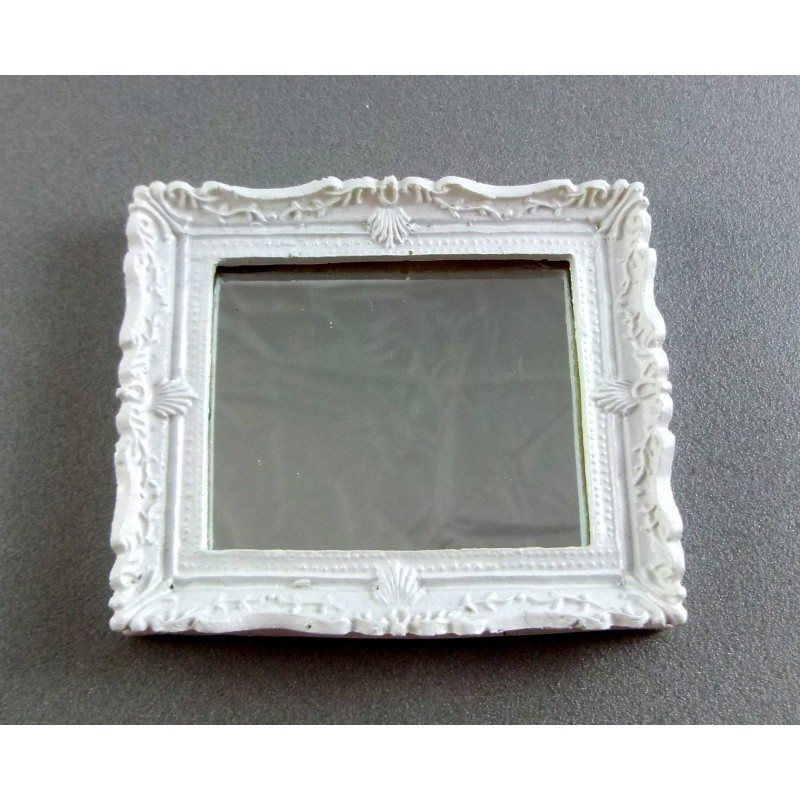 Dolls House Miniature Bedroom Lounge Bathroom Accessory White Shabby Chic Mirror