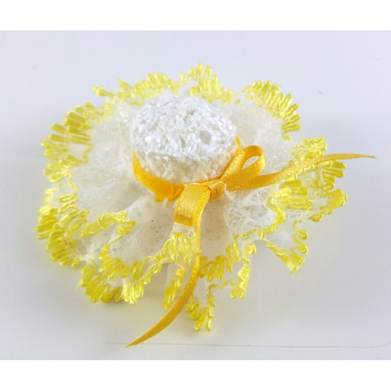 Dolls House Miniature 1:12 Hand Made Millinery Shop Accessory Ladies Hat Lemon