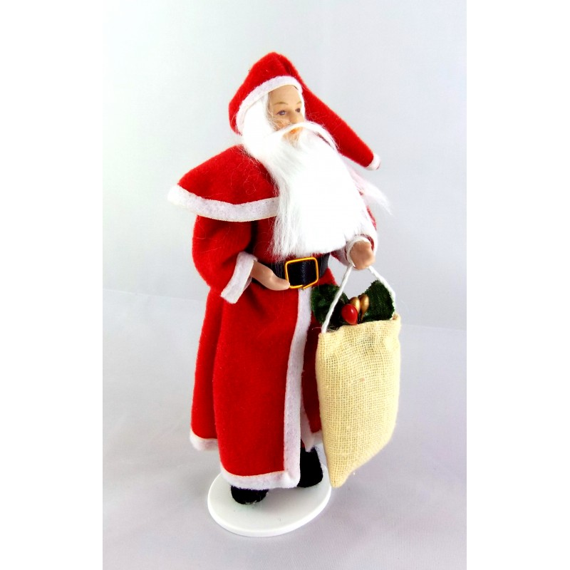 Dolls House 1:12 Scale People Porcelain Father Christmas Santa Claus with Sack