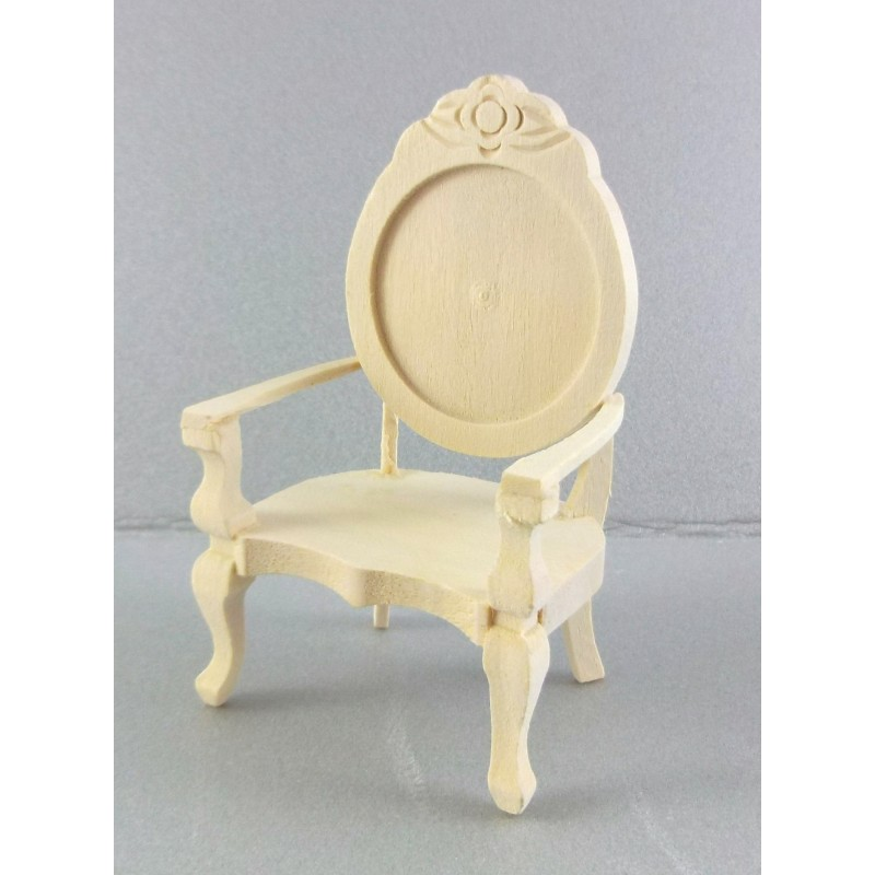 Dolls House Miniature Unfinished Natural Wood Furniture Mirror Back Arm Chair