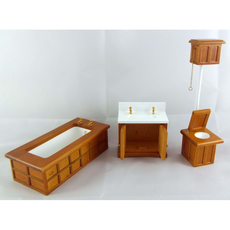 Dolls House Miniature Wooden Furniture Victorian Walnut Bathroom Suite