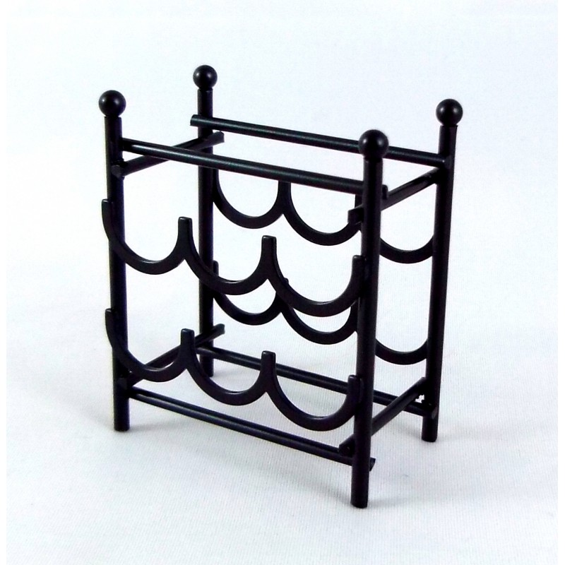 Dolls House Miniature 1:12 Scale Accessory 6 Bottle Black Wine Rack