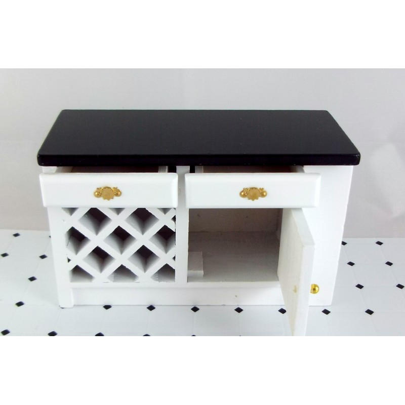 Dolls House Miniature Kitchen Furniture Black & White Island Unit End Cabinet