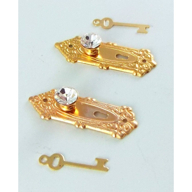 Dolls House 2 Crystal Opryland Handles Knobs with Keys Miniature Door Furniture