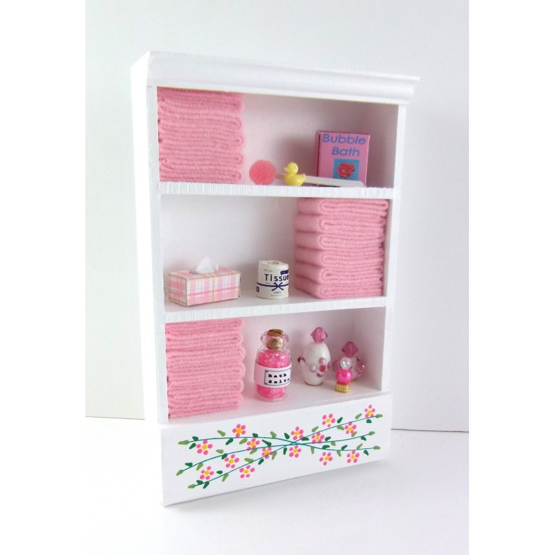 Dolls House Miniature Bathroom Furniture Shelf Unit Pink Towels & Accessories
