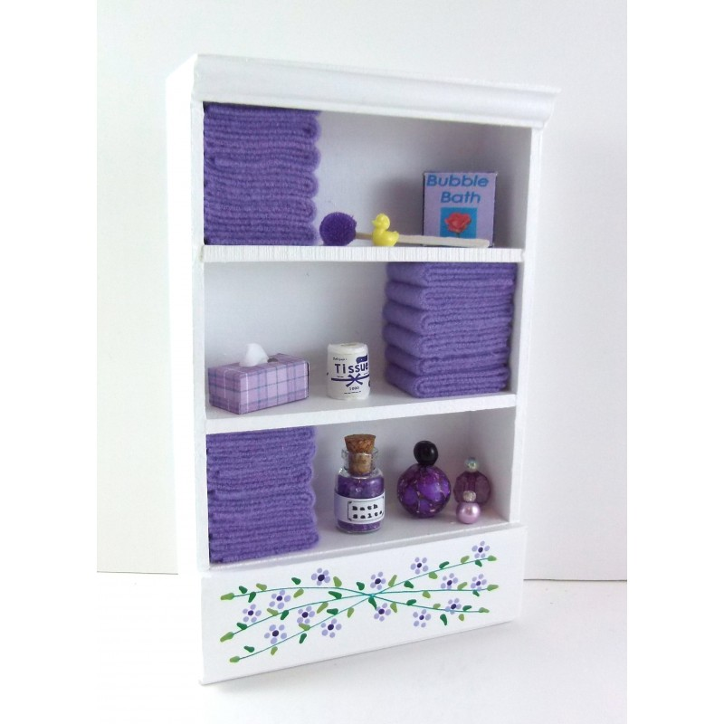 Dolls House Shelf Unit Lilac Towels & Accessories Miniature Bathroom Furniture