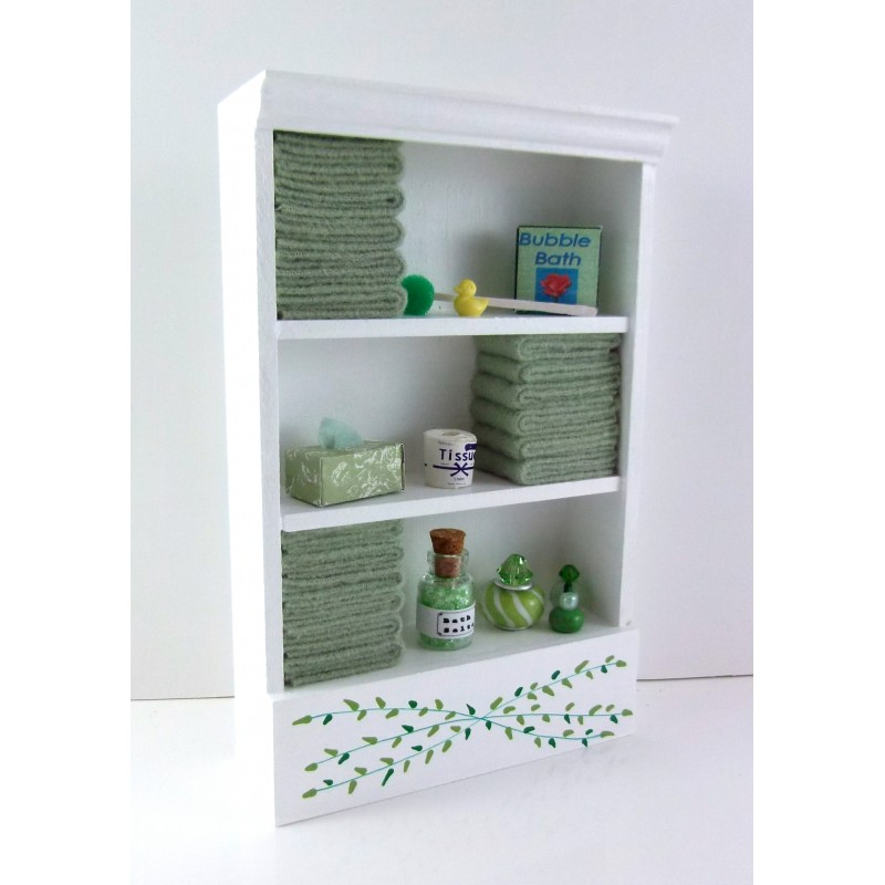 Dolls House Miniature Bathroom Furniture Shelf Unit L Green Towels & Accessories