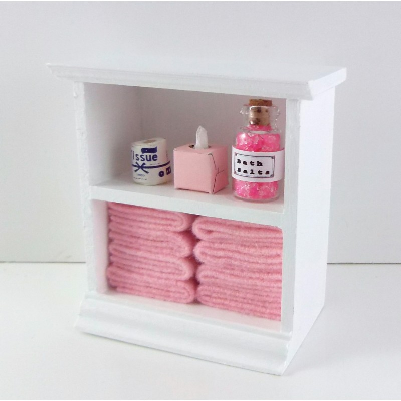 Dolls House Miniature Furniture Small Shelf Unit & Pink Bathroom Accessories