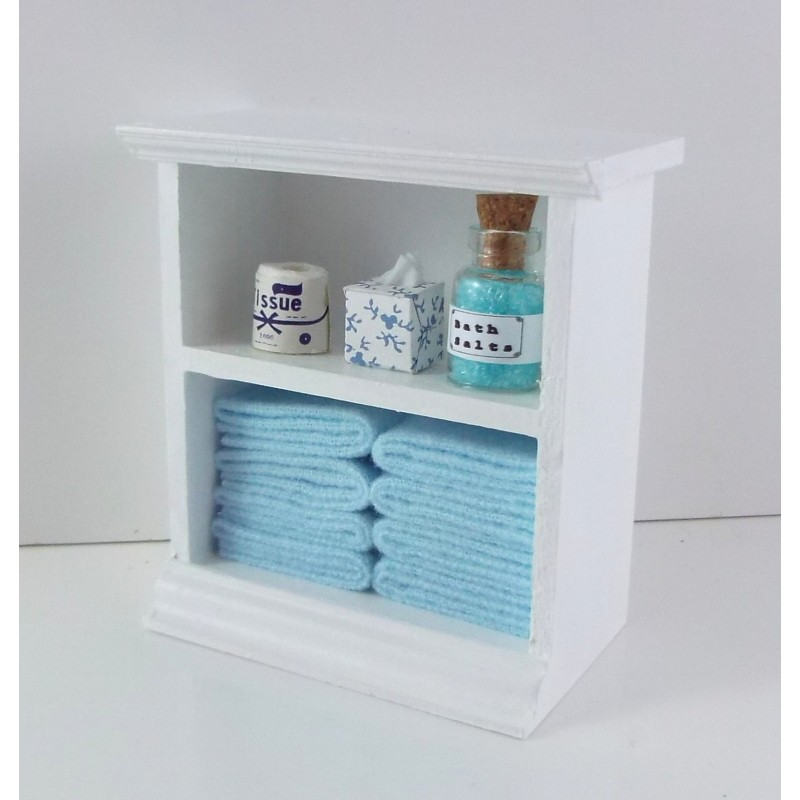 Dolls House Miniature Furniture Small Shelf Unit & L Blue Bathroom Accessories