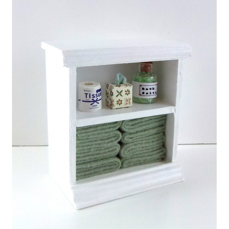 Dolls House Small Shelf Unit with Sage Green Accessories Bathroom Furniture