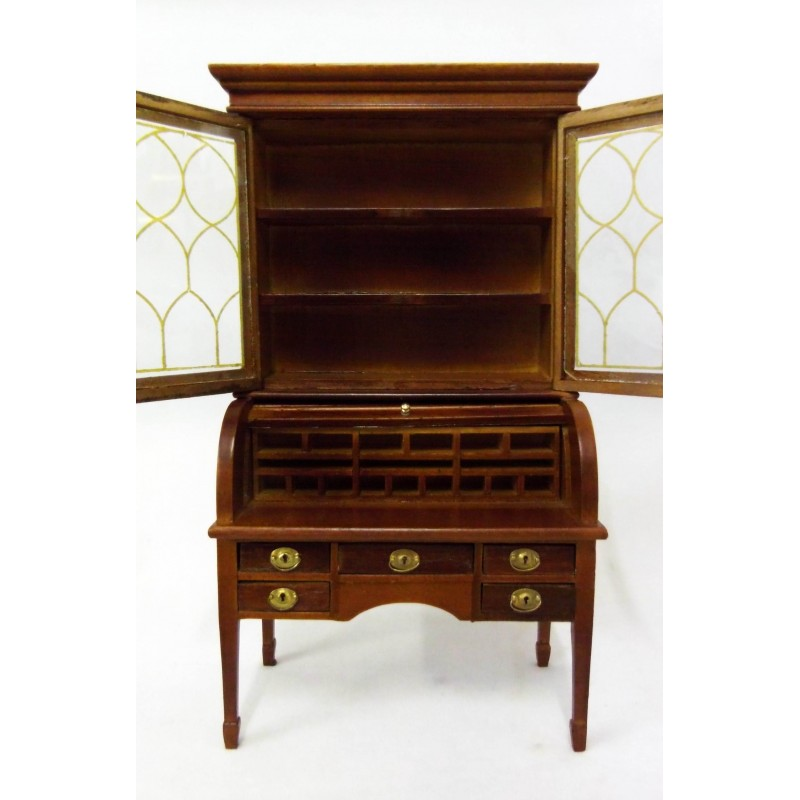 Dolls House Walnut Colonial Bureau Desk & Bookcase 1:12 Study Office Furniture